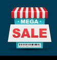 Mega Sale shop banner design with barcode vector image