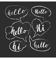 Speech bubbles with Hello word Hand drawn vector image