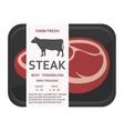 Beef tenderloin in the package Steak vector image