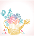 Floral background with watering can and bird vector image vector image
