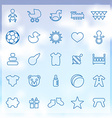 25 baby kids icons set vector image