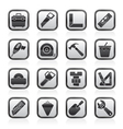 Construction objects and tools icons vector image vector image
