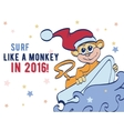 Surfing Holidays New Year Monkey Greeting vector image