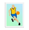 stamp with image of basketball vector image