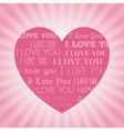 big pink heart i love you lettering light vector image