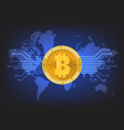 bitcoin digital cryptocurrency with world map vector image