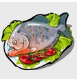 Dish with cooked fish and vegetables icon closeup vector image