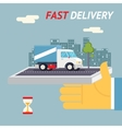 Fast Free Delivery Symbol Shipping Hourglass Timer vector image