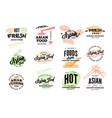 hand drawn asian food logotypes vector image