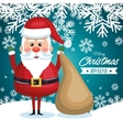 postcard with santa claus and bag gift snowflake vector image