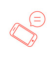 thin line red telephone with speech bubble vector image
