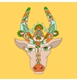 Line decorative drawing of indian cow head floral vector image