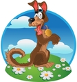 Friendly fun dog on color background vector image vector image