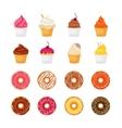 Donut cupcake icon vector image
