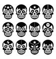 Lucha Libre - Mexican sugar skull masks black icon vector image