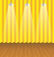 room with gold curtain and wooden floor vector image