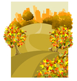 cartoon round the land with houses in the autumn vector image