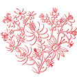 Color folk floral pattern in heart shape 3d vector image