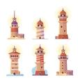 Cartoon lighthouse icons vector image