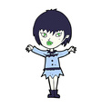 comic cartoon vampire girl vector image