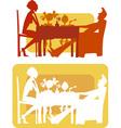 family breakfast vector image