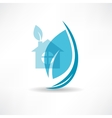 House with blue leaves icons vector image