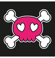 Pink skull with crossbones and hearts vector image