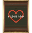 Retro Valentines Day card with heart shape vector image