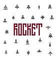 rockets icon set flat silhouettes of space ships vector image