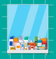 set of various color cosmetic bottles vector image