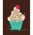 Silhouette of colorful cupcake with text vector image