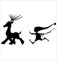 Silhouette running deer and cute christmas elf vector image