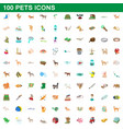 100 pets icons set cartoon style vector image