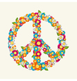 Isolated peace symbol made with flowers vector image