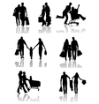 Family Shopping Silhouettes with Shadow vector image vector image