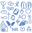 christian doodles symbol set vector image