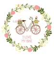floral wreath and bike vector image vector image