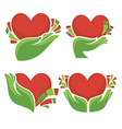 hearts and hands vector image vector image