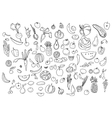 Hand drawn vegetables doodle sketch on white vector image