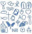 christian doodles symbol set vector image