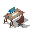 empty desktop for businessman isometric vector image