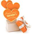 Gift box with big hearts vector image