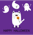 happy halloween spooky frightened cat holding vector image