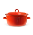 Red saucepan photo realistic vector image
