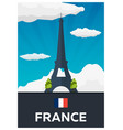 travel poster to france eiffel tower flat vector image