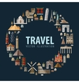 travel vacation a set of colored icons vector image