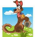 Friendly fun dog on background vector image