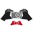 camera in hands icon vector image vector image