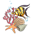 A stripe-colored fish under the sea vector image vector image