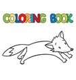 Coloring book of little funny jumping fox vector image